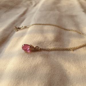 Pink Tourmaline Drop wire wrapped Pendant
