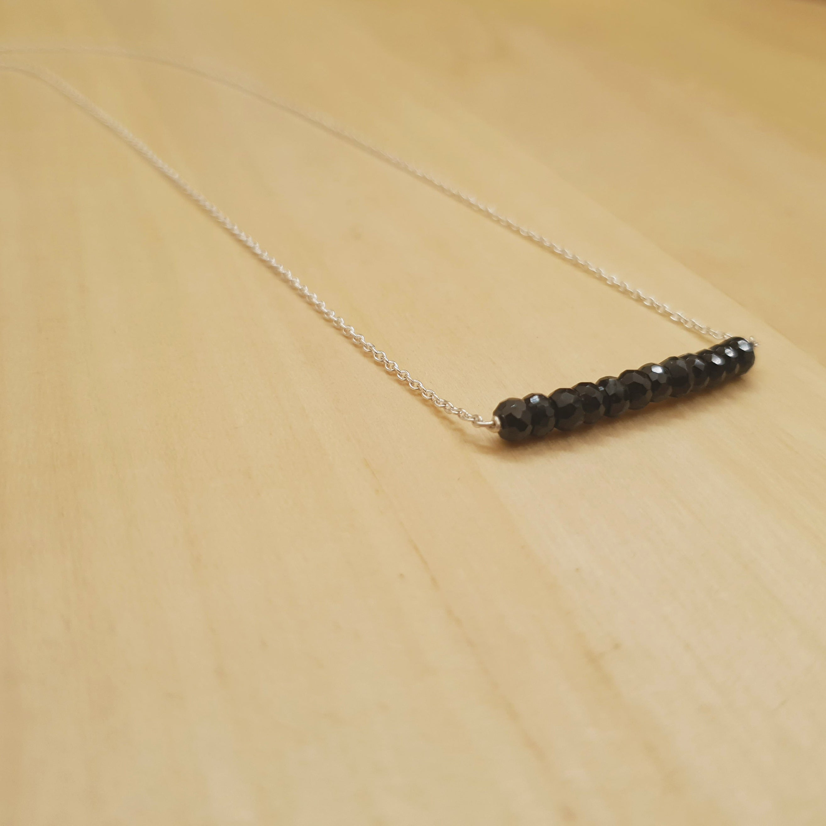 Black Spinel Bar Necklace