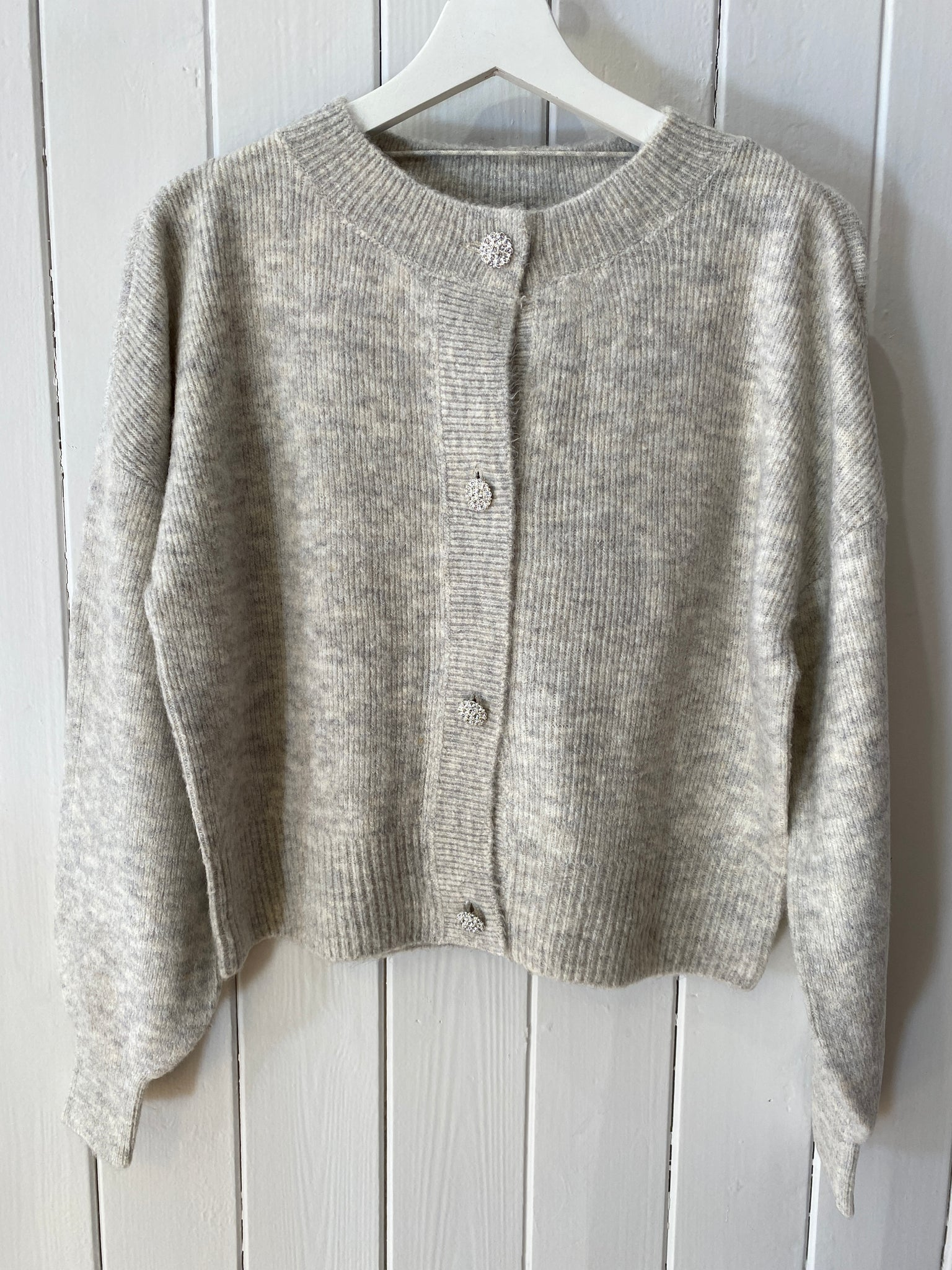 VMLEFILEJEWEL LS O-NECK BUTTON CARDIGAN
