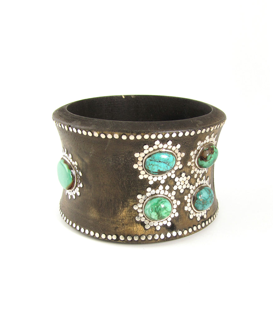 Amazon rosewood, turquoise and silver wide bangle