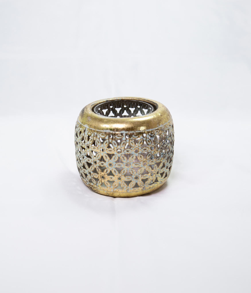 Ornate gold metal votive