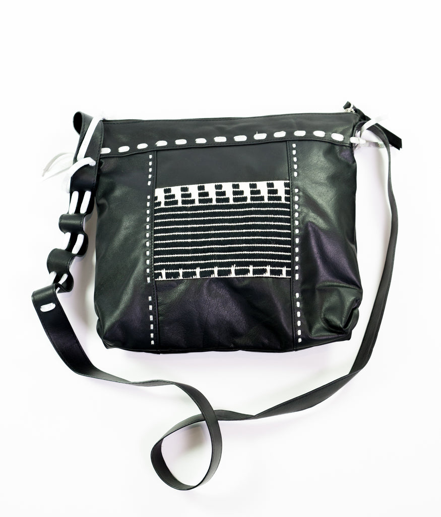 Nomad black leather square cross body bag