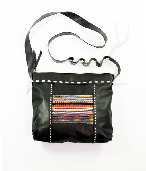 Carnaval black leather square cross body bag