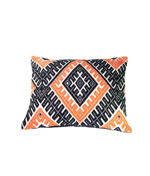 Black and orange Kilim-inspired cushion
