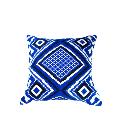 Royal blue geometric cushion