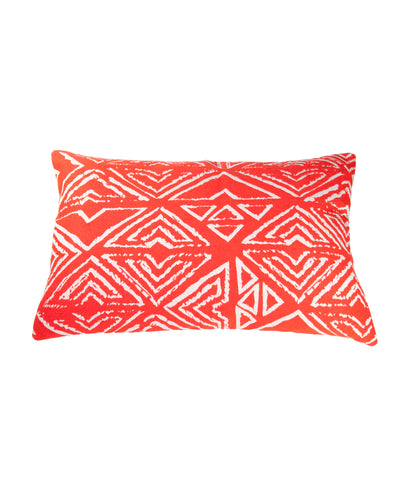 Vermillion Aztec cushion