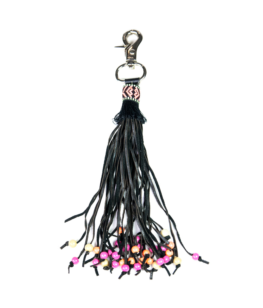 Coral beaded leather tassel bag charm