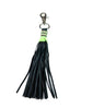 Black leather lime trimmed bag charm
