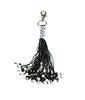 Monochrome beaded leather tassel bag charm