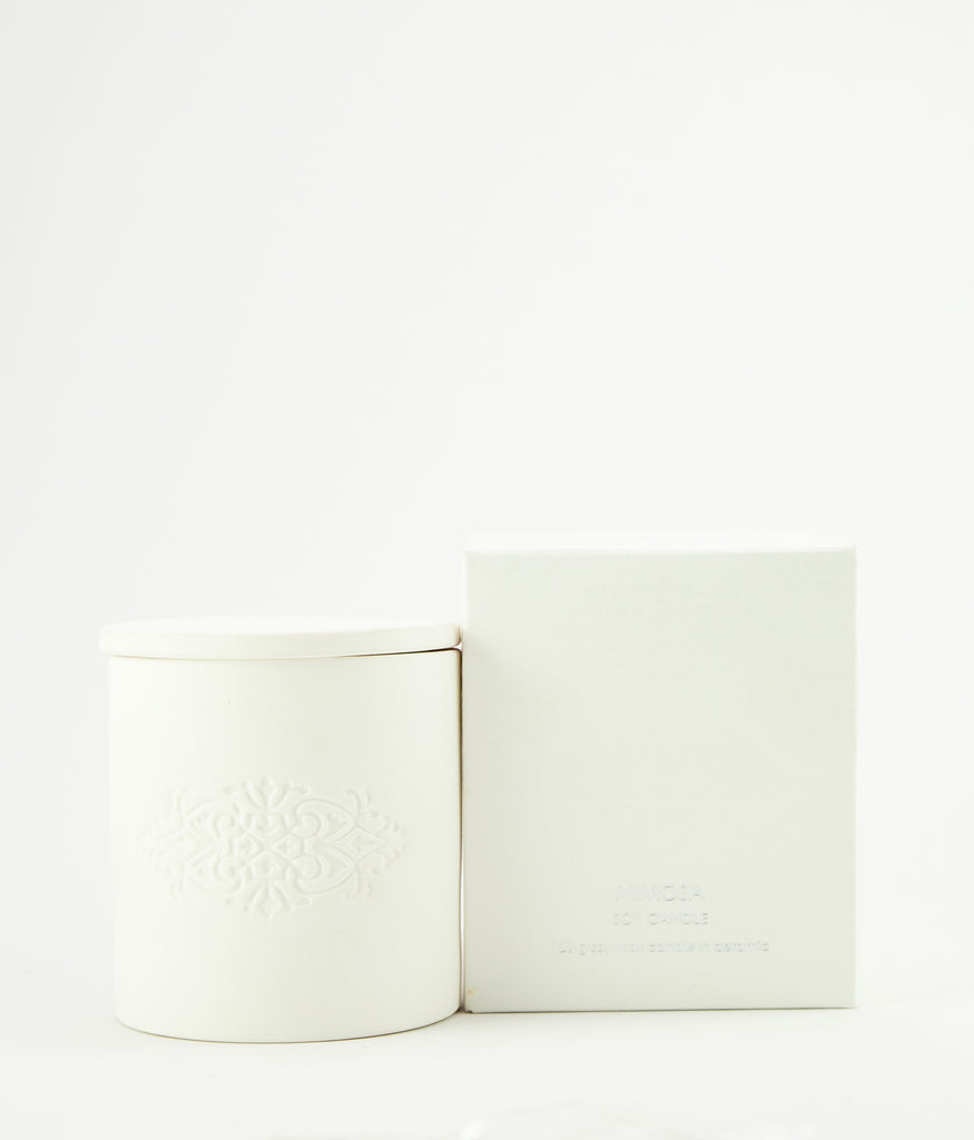 Sweet pea soy wax candle in white porcelain pot
