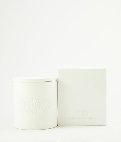 Prosecco soy wax candle in white porcelain pot