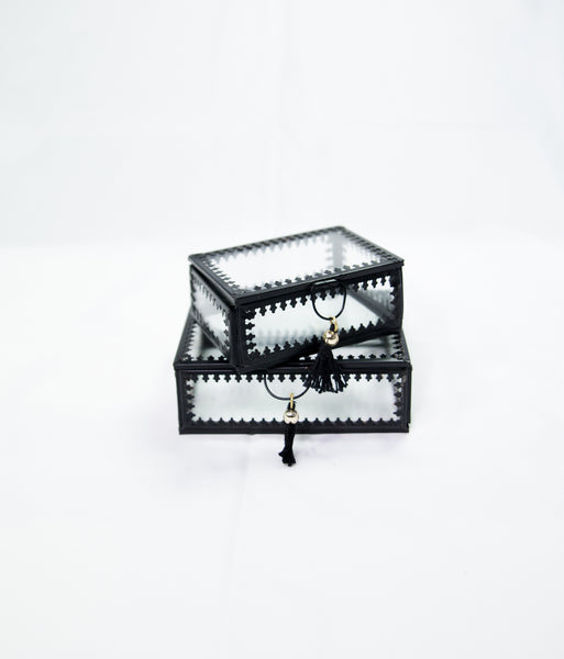 Small black-edged glass jewellery box