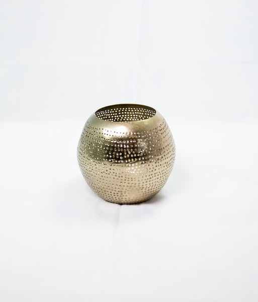 Round gold metal votive