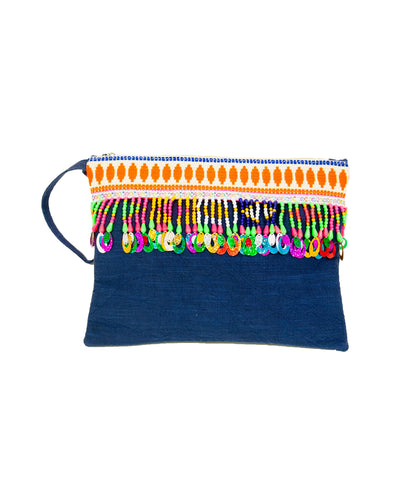 Brightly fringed large pochette