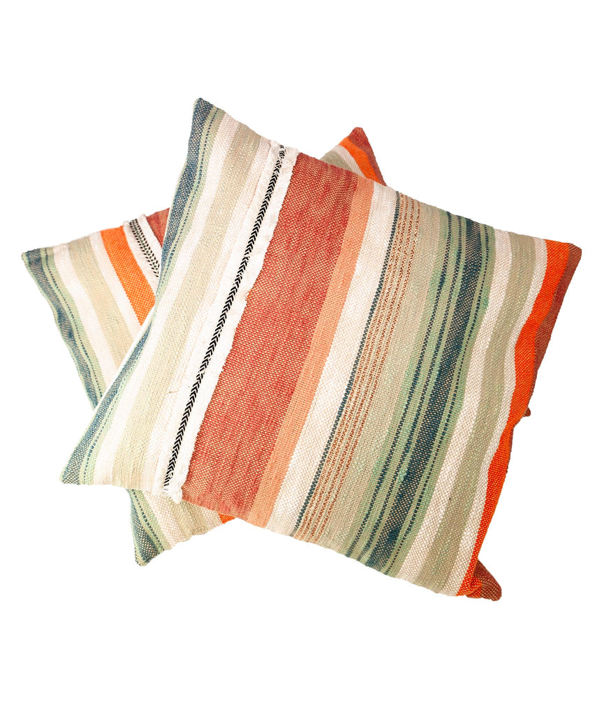 Terracotta earthy striped cushion
