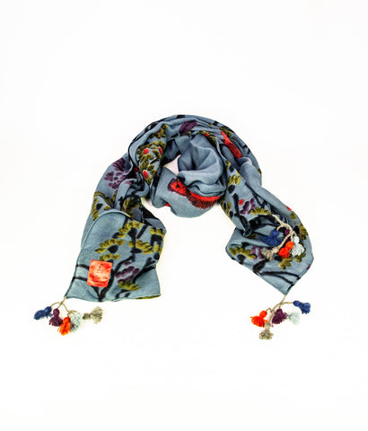 Sky blue bird and floral scarf