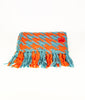 Coral and sky blue dogtooth cosy knit scarf