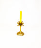 Antique gold tone palm tree candle holder and candle