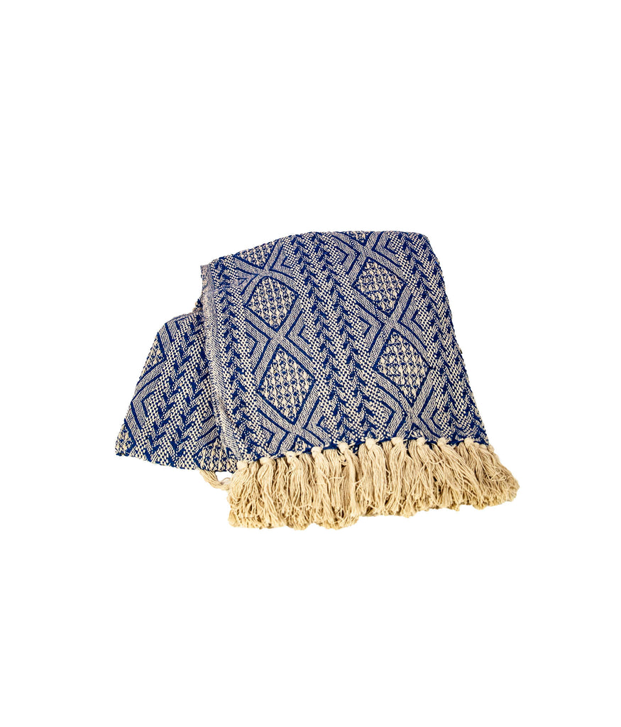 Blue and ivory woven tassel throw