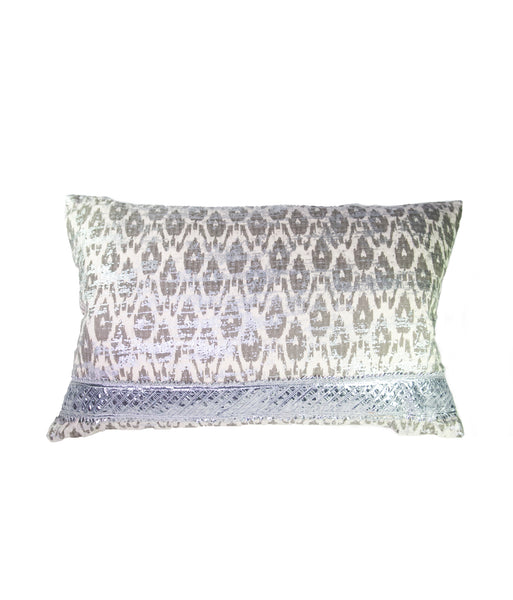 Muted metallic silver Baroque rectangular cushion