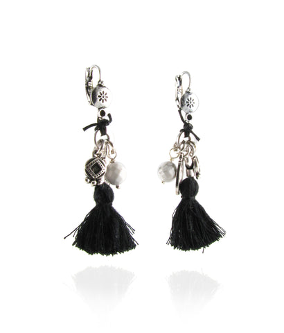 Nomad monochrome tassel cluster earrings
