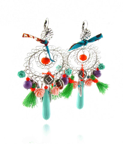 Carnaval fiesta filigree earrings