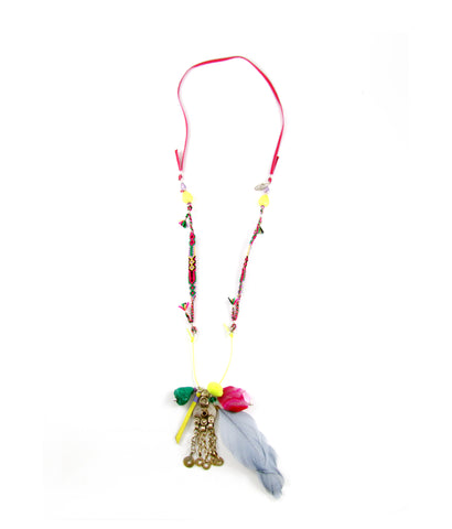 Carnaval fun feather cluster necklace