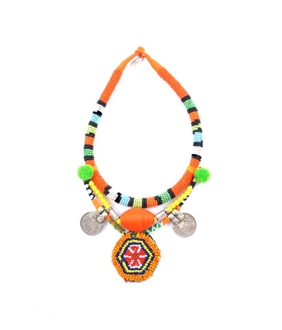 Majorelle statement beaded mosaic necklace