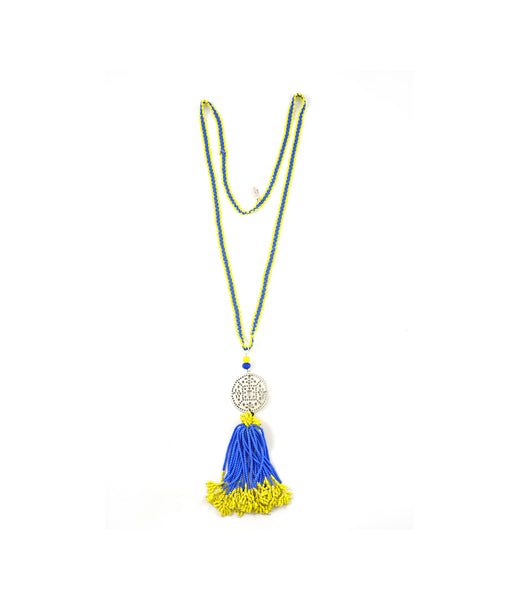 Majorelle fine beaded tassel necklace