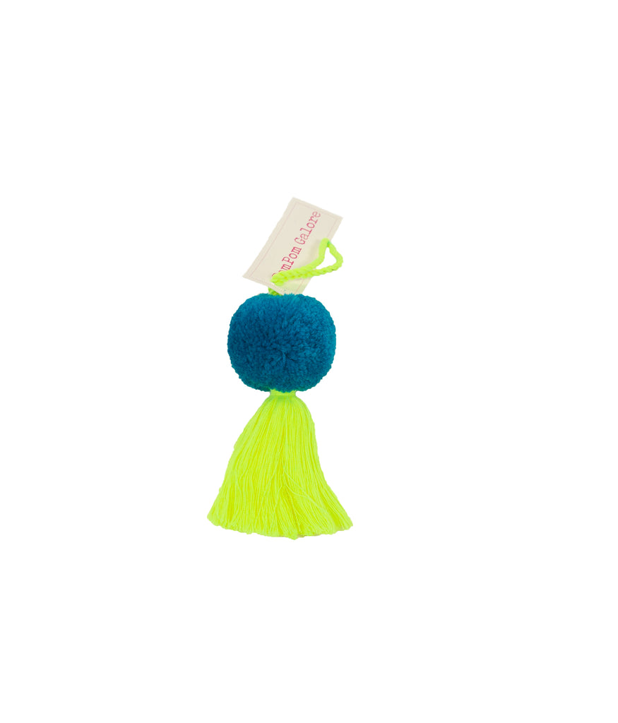 Turquoise and yellow pompom decoration
