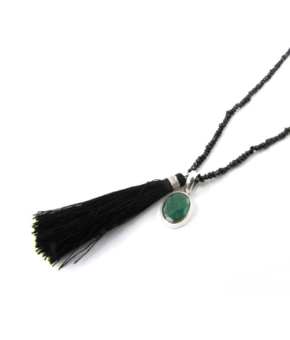 Faith Indian emerald and black spiral tassel necklace
