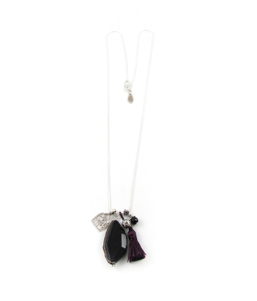 Indigo jet black agate and aubergine tassel necklace