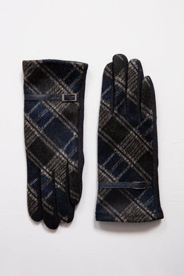 Blue Printed Gloves with Buckle