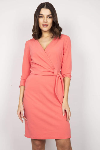 J'aime la Vie Dresses Coral / 10 / Over the knee 3/4 Sleeves Mock Wrap Dress in Coral