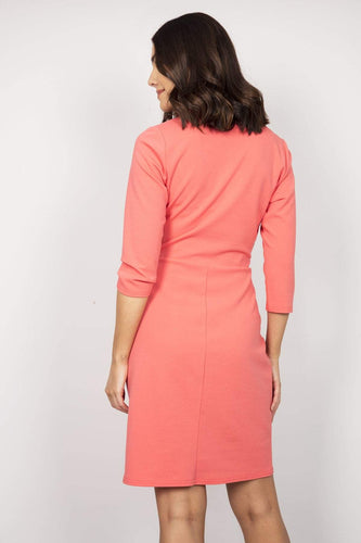 J'aime la Vie Dresses 3/4 Sleeves Mock Wrap Dress in Coral