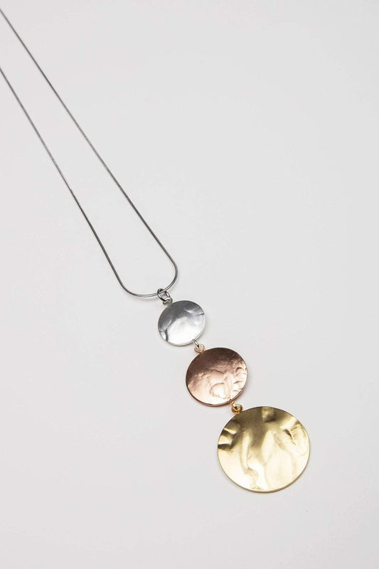 Joularie Necklaces Multi 3 Tone Disc Necklace