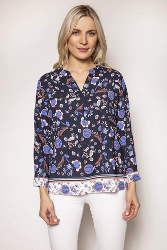 Rowen Avenue Tops Navy / S / Long Sleeve Abstract Print Blouse in Navy Tones