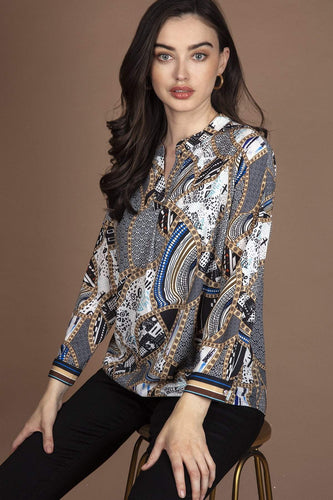 Rowen Avenue Tops Multi / S Abstract Print Blouse in White