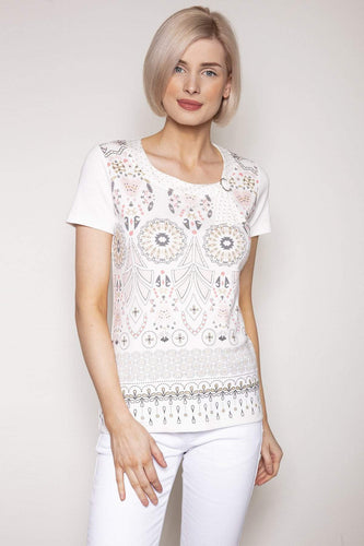 Kalisson Tops 10 / White / Short Sleeve Abstract Printed Top in White