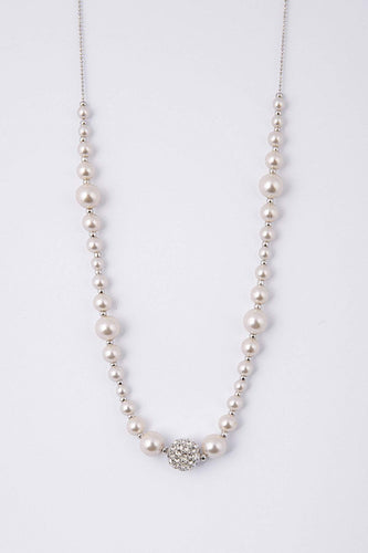 Knight & Day Necklaces Silver Agnelia Rodium & Pearl Necklace