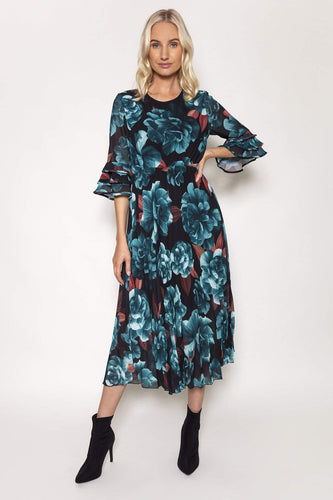 Pala D'oro Dresses Teal / S/M / Knee Aine Dress in Teal Print