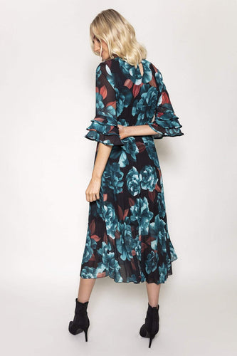 Pala D'oro Dresses Aine Dress in Teal Print