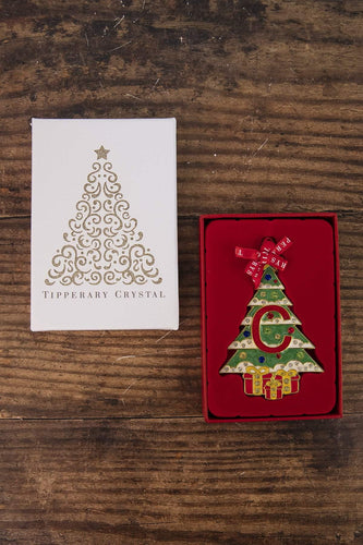 Tipperary Crystal Gift Christmas Tree Decorations Alphabet Christmas Tree Decoration - Letter C - Gift Box