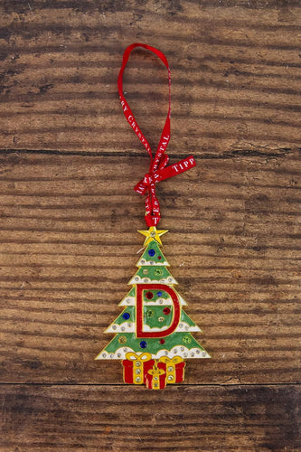 Tipperary Crystal Gift Christmas Tree Decorations Alphabet Christmas Tree Decoration - Letter D - Gift Box