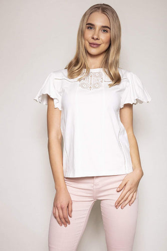 Rowen Avenue Tops White / S / Short Sleeve Angel Sleeve Lace Top in White