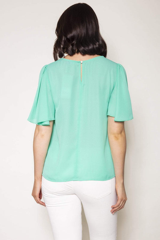 Rowen Avenue Tops Angel Sleeve Top in Mint