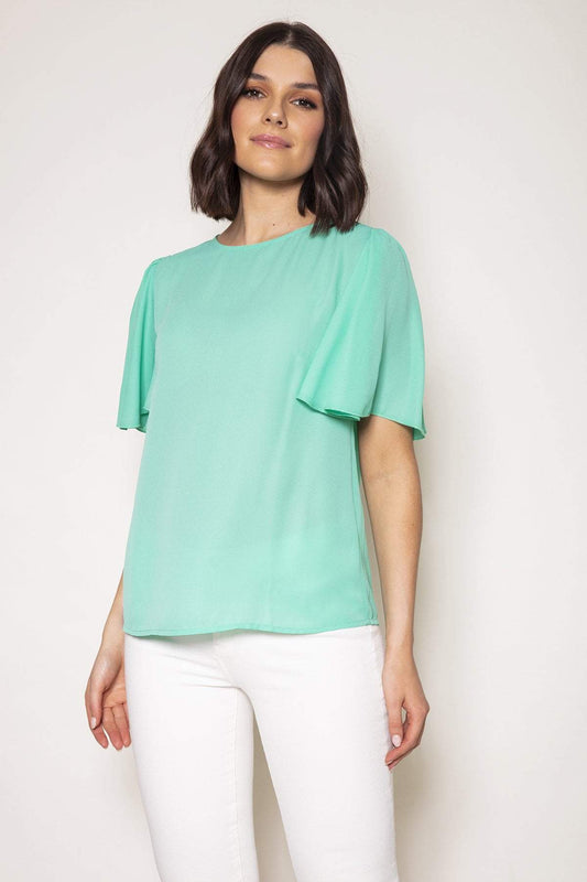 Rowen Avenue Tops Green / S / Short Sleeve Angel Sleeve Top in Mint