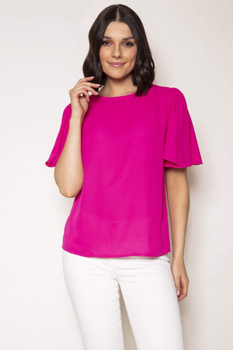 Rowen Avenue Tops Pink / S / Short Sleeve Angel Sleeve Top in Pink