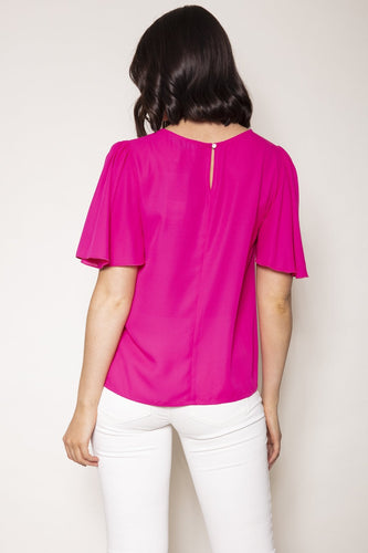 Rowen Avenue Tops Angel Sleeve Top in Pink