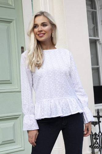 Rowen Avenue Tops Anglaise Blouse in White